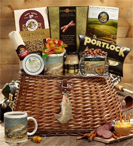 Fishing Creel Full of Fisherman's Favorite Snacks Gift Basket